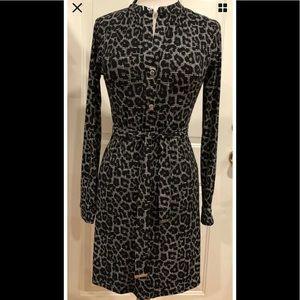 Michael Kors belted ShirtDress black leopard XS
